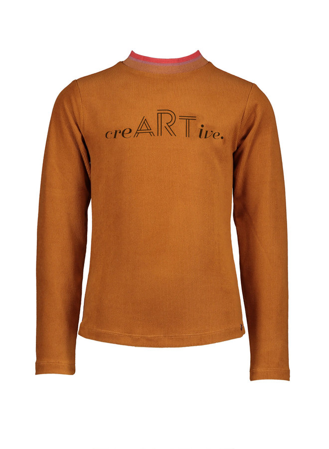 NoNo - Kusan Velours Rib Shirt With Artwork - Caramel