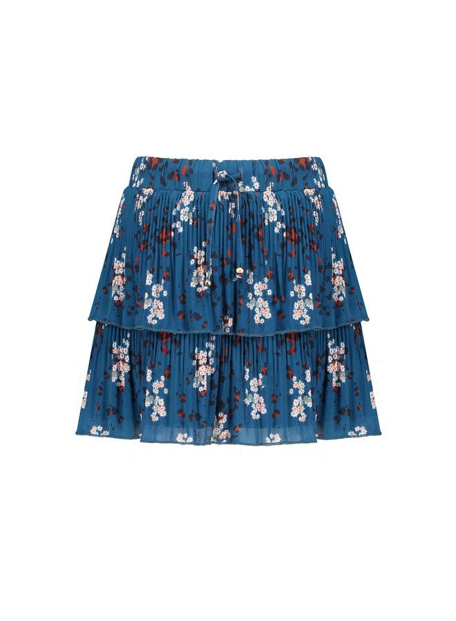 NoNo - NikkiB 2 Layered Recycled Plissee Short Skirt - Swedish Blue