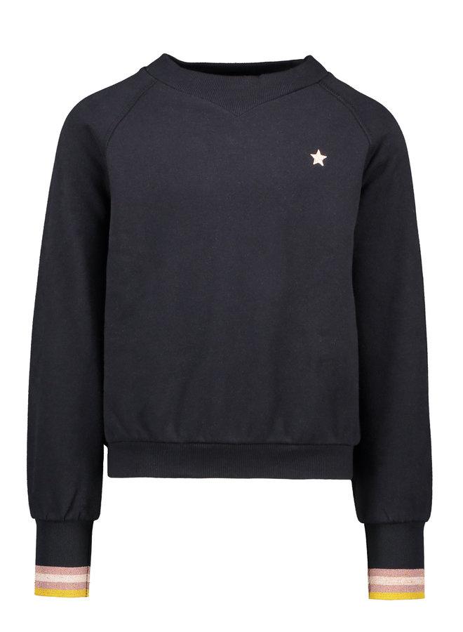 Like Flo - Loose Fit Sweater Metallic Rib Cuff - Navy