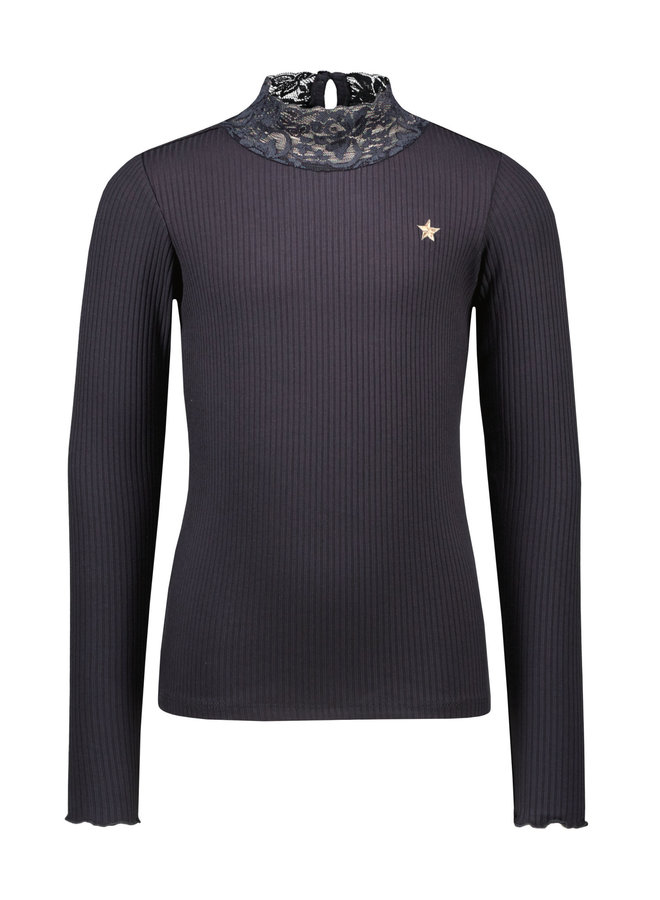 Like Flo - Rib Longsleeve Turtle Neck Top With Lace - Navy