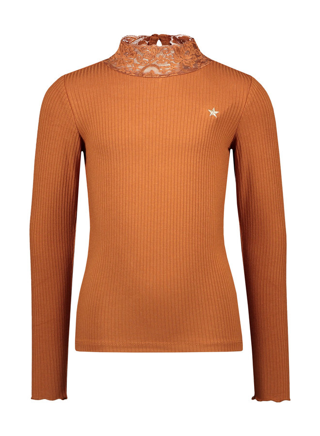 Like Flo - Rib Longsleeve Turtle Neck Top With Lace - Cognac