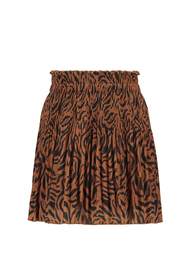 Like Flo - Woven Crepe Plisse Skirt - Cognac