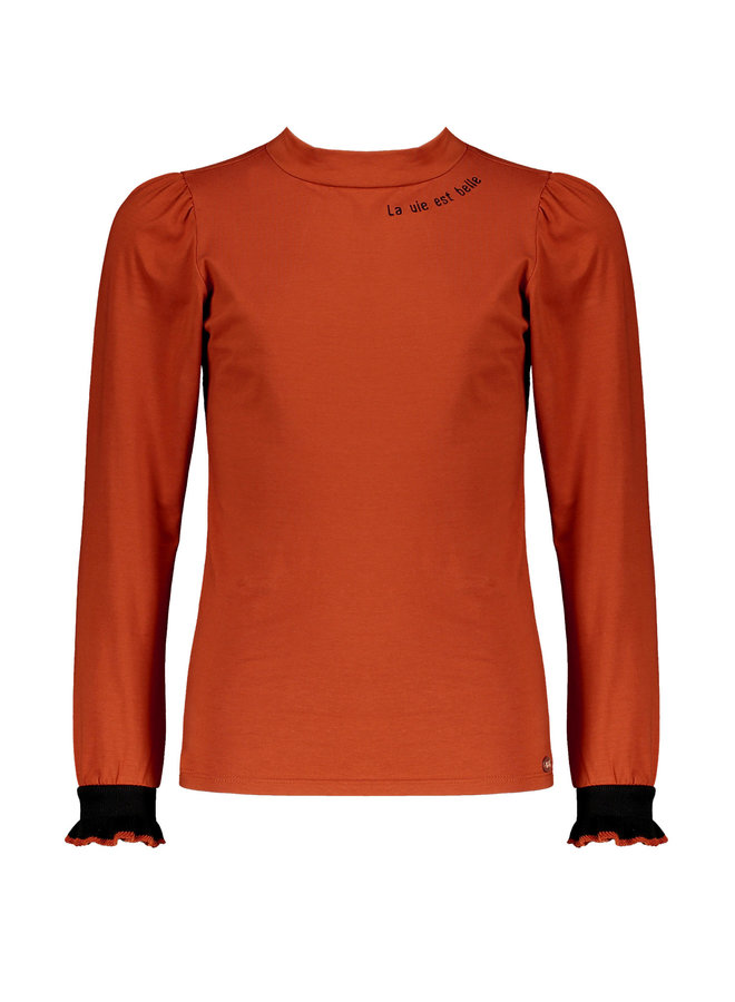 Nobell' - Kiss Shirt With Puffed Shoulder + Small Turtle Neck - Piment