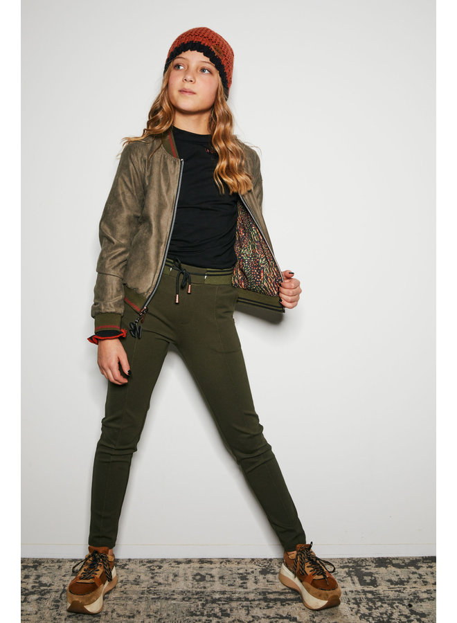 Nobell' - Secler Pants With Rib Waistband - Army Green