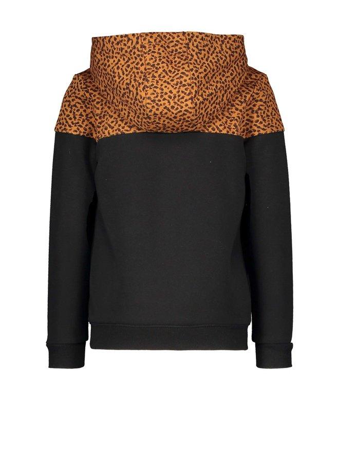 Like Flo - Hooded Colourblock Sweater - Black