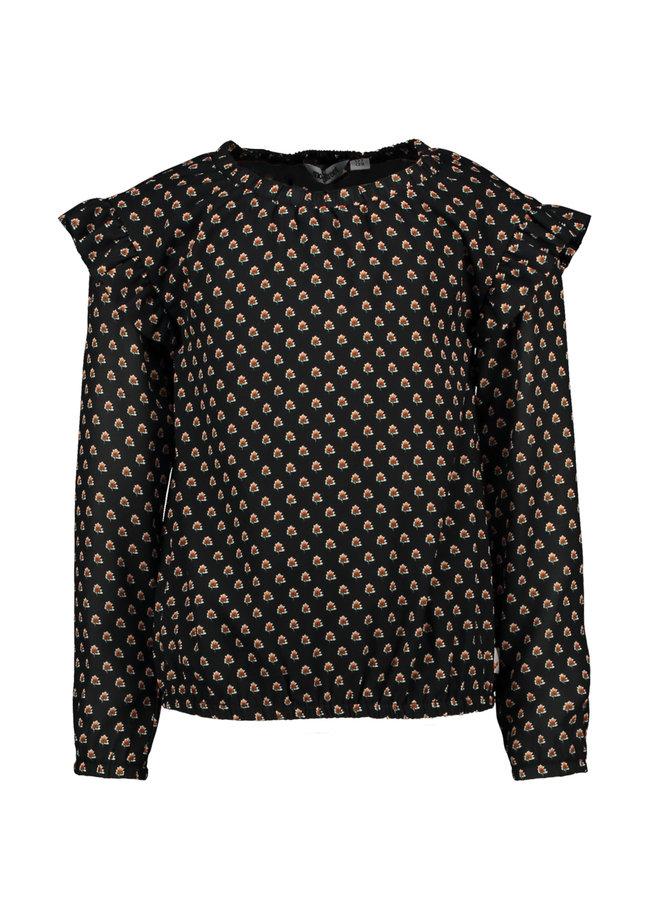 Moodstreet - Print Blouse - Black