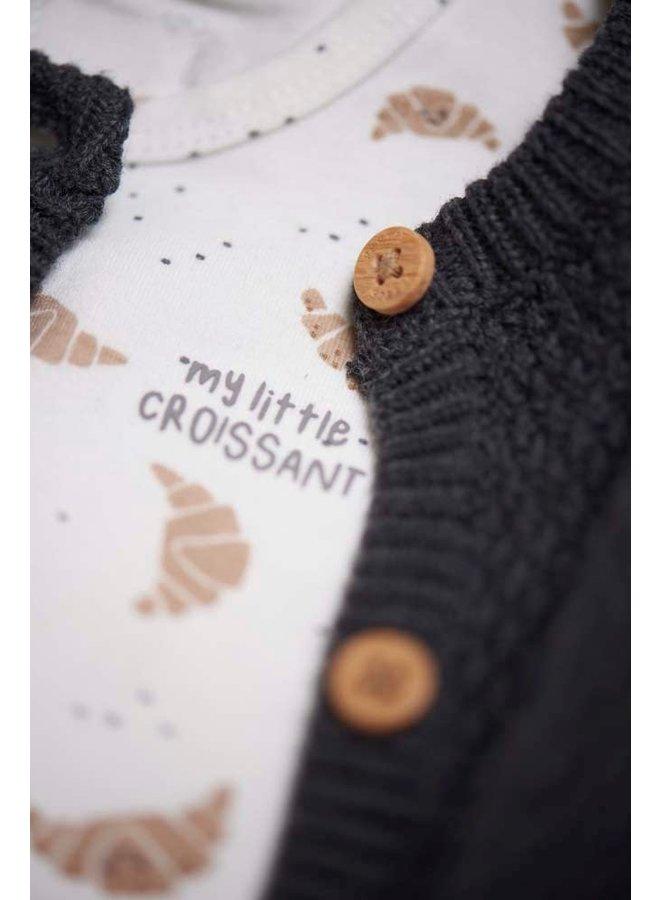 Feetje - Vestje Gebreid Antraciet Melange - Little Croissant