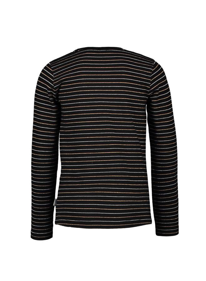 Moodstreet - Longsleeve Lurex Stripe - Black