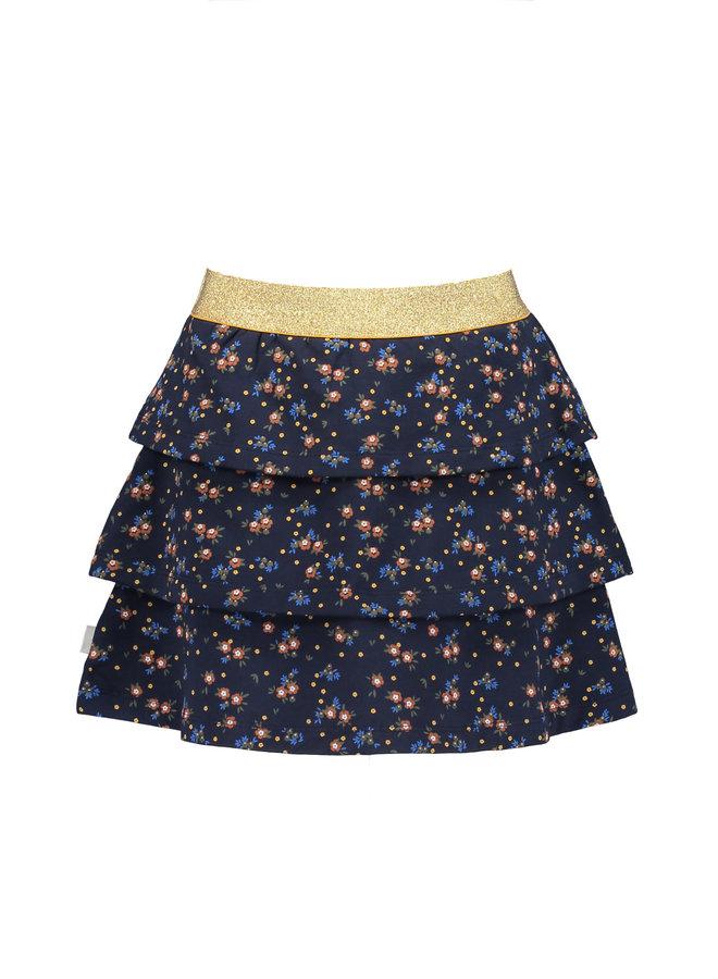 Moodstreet - Skirt Terry AOP Flower - Navy