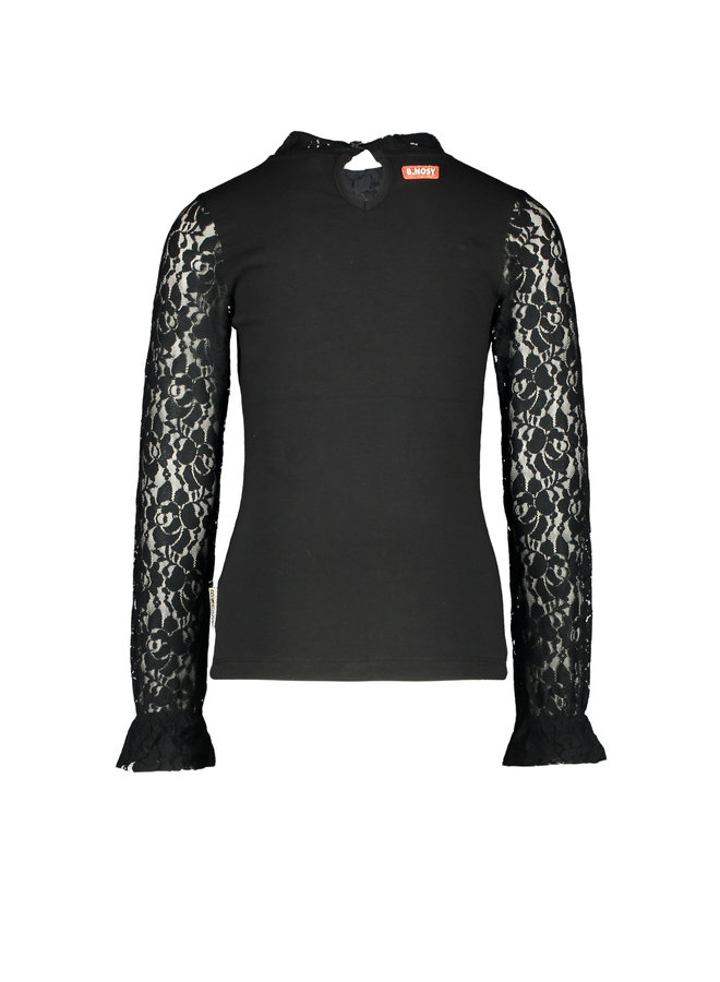 B.Nosy - Blouse With Lace Details And Smocked Sleeve-End - Black