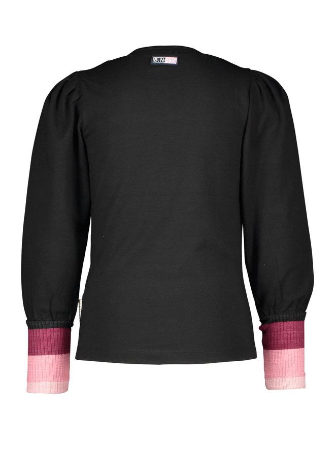 B.Nosy - Puff Shoulder Shirt With High Rib - Black