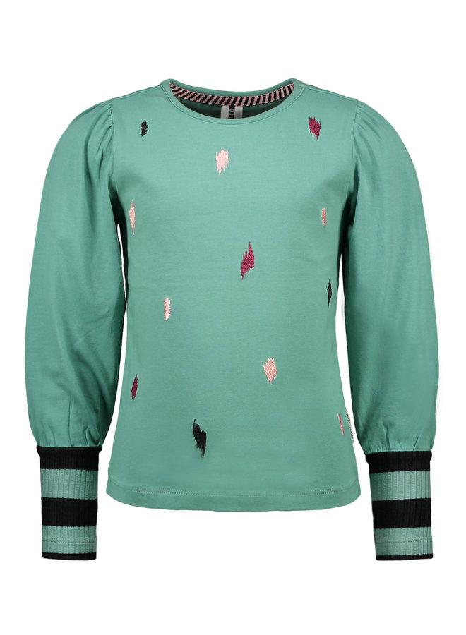 B.Nosy - Puff Shoulder Shirt With High Rib - Cellery Green