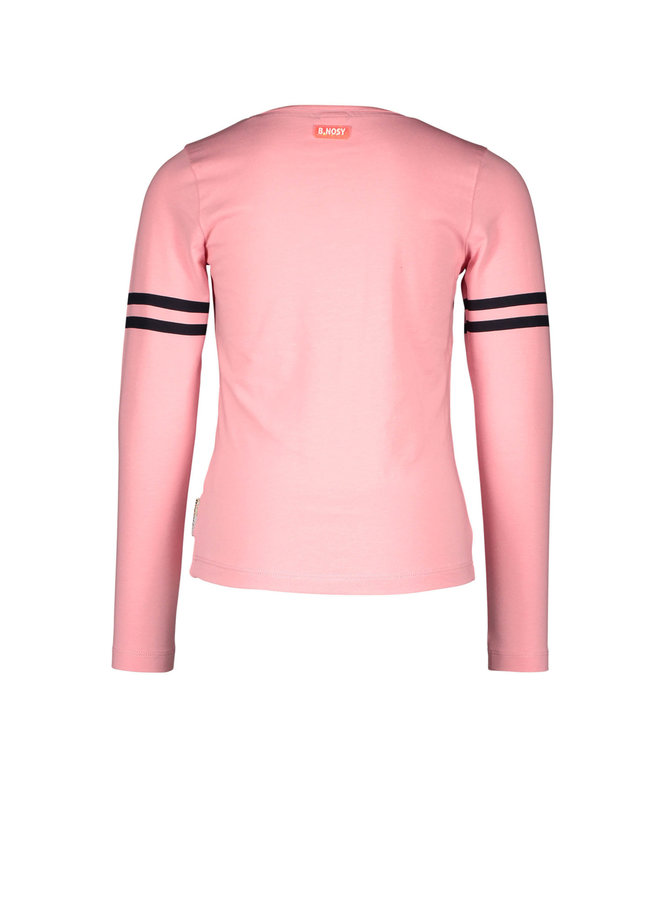 B.Nosy - Shirt With Print Stripe On Sleeve - Punch Pink