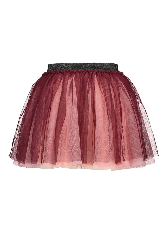 B.Nosy - Wide Netting 2 Layer Skirt With Lining - Maroon Red