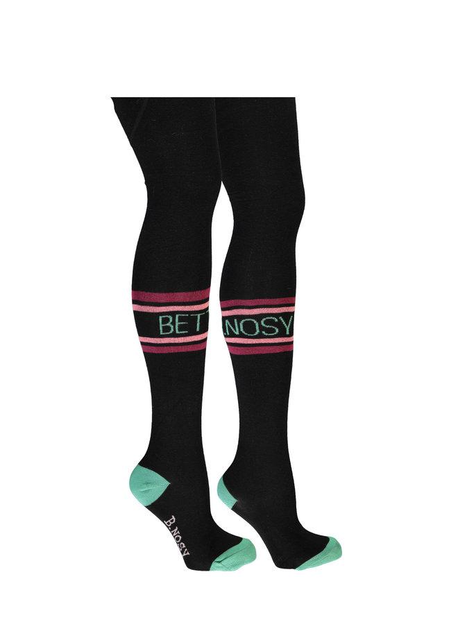 B.Nosy - B.Better Thight With Tekst Stripe On Knee - Black