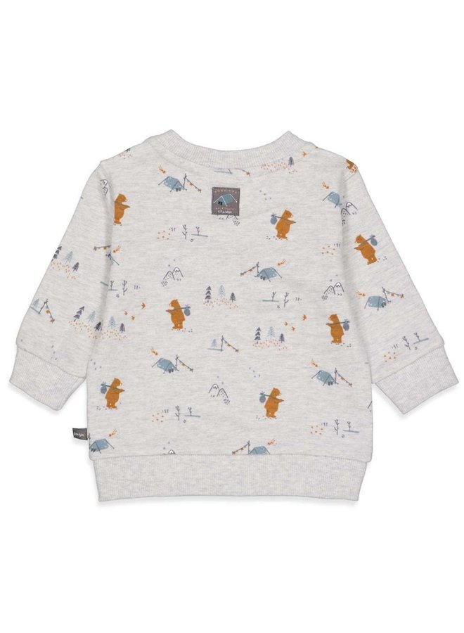 Feetje - Sweater AOP Grijs Melange - Griddly Bear