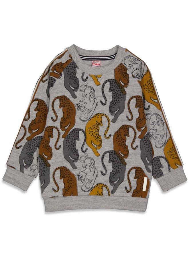 Sturdy - Sweater AOP Grijs Melange - On A Roll