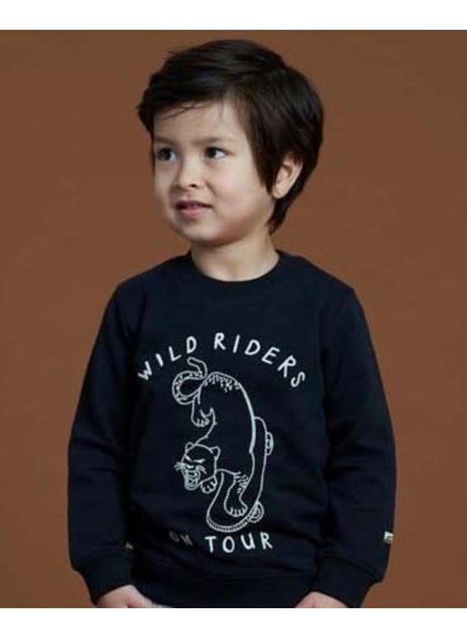 Sturdy - Sweater Wild Riders Zwart - On A Roll