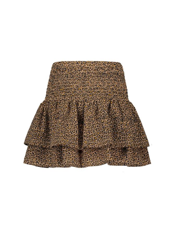 NoNo - Noor 2 Layered Short Skirt With Smocked Waistband - Animal