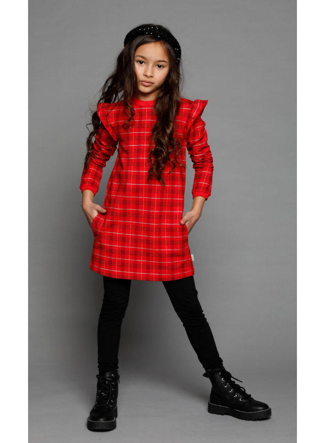 Moodstreet - Dress Terry AOP Check - Red
