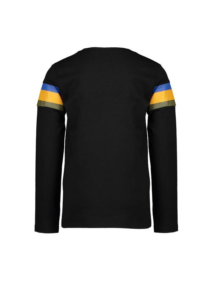 Moodstreet - Longsleeve Striped Contrast - Black