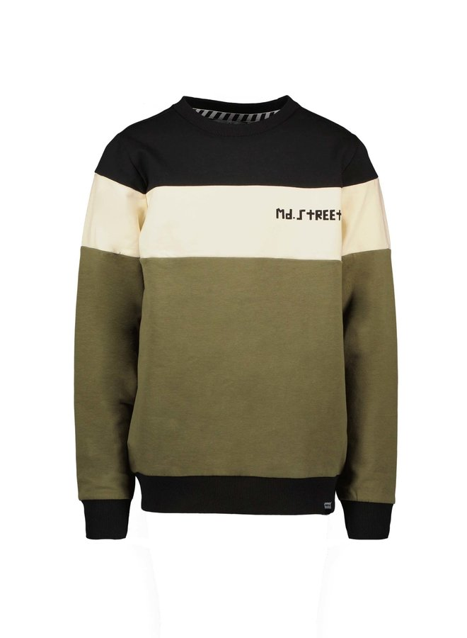 Moodstreet - Sweater With Cut & Sewn - Black