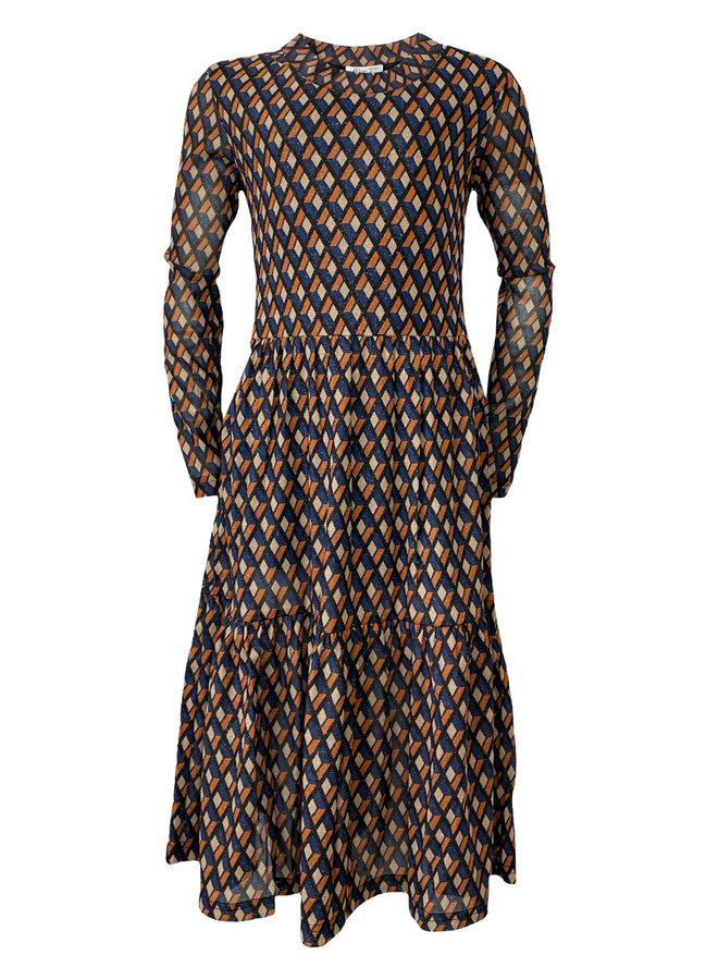 Miss-T - Long Dress Mila - AOP Check
