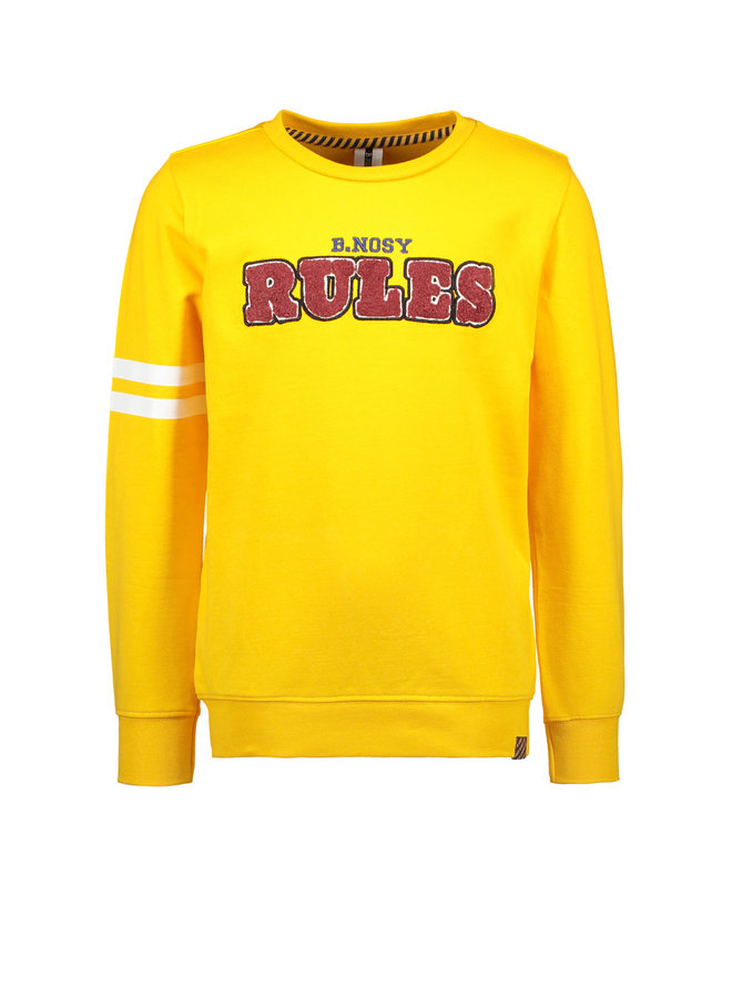 B.Nosy - Sweater With Frotté Artwork And Printed Stripes On Sleeve - Saffron