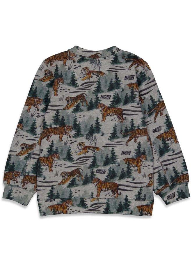 Sturdy - Sweater AOP Grijs Melange - Wild Things