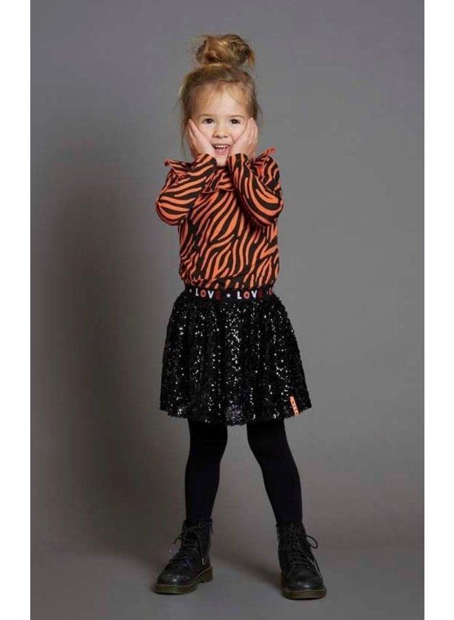 Jubel - Pailetten Rok Zwart - Blushing Zebra