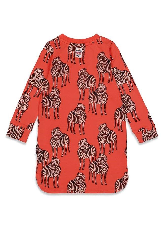 PRE-ORDER - Jubel - Sweatjurk AOP Koraal - Blushing Zebra