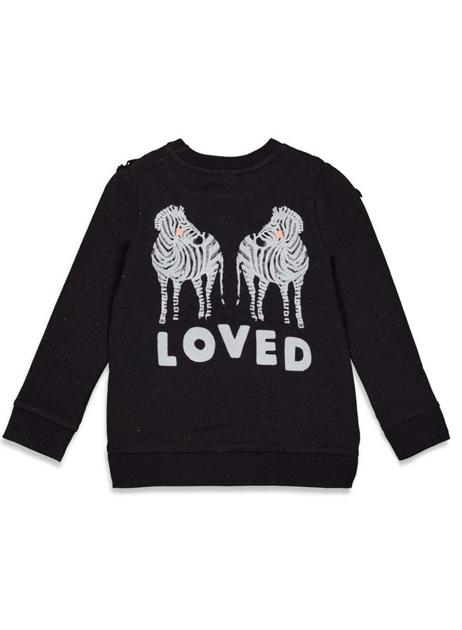 PRE-ORDER - Jubel - Sweater Ruches Zwart - Blushing Zebra