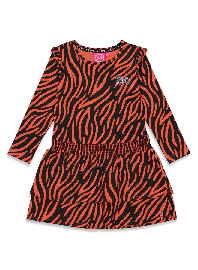 PRE-ORDER - Jubel - Jurk AOP Zwart - Blushing Zebra