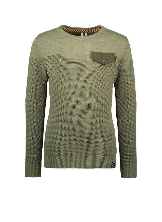 B.Nosy - Knitted Sweater With Pocket Flap - Warrior Green