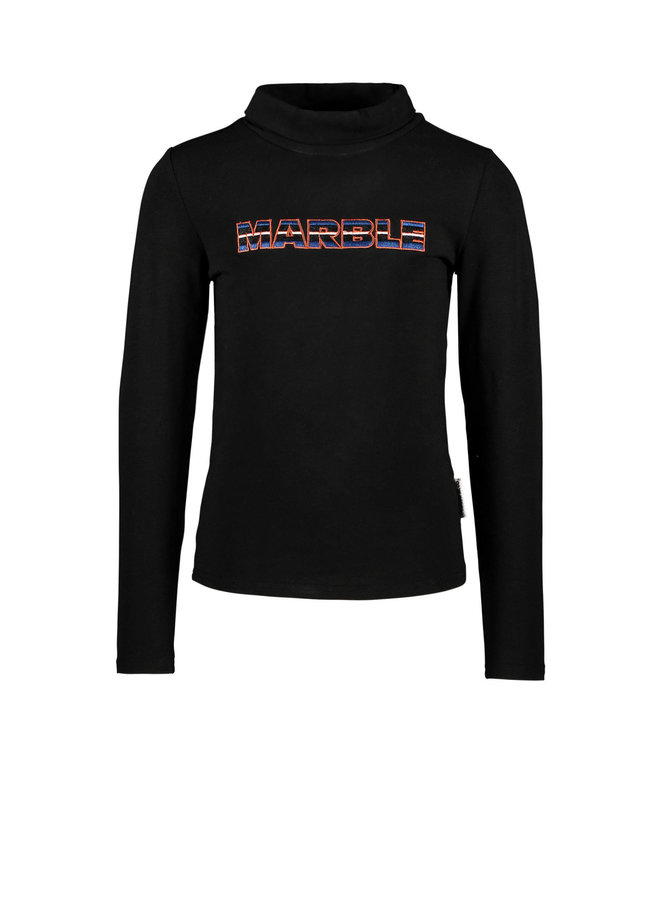 B.Nosy - Turtleneck Top With Embroidery On Chest - Black
