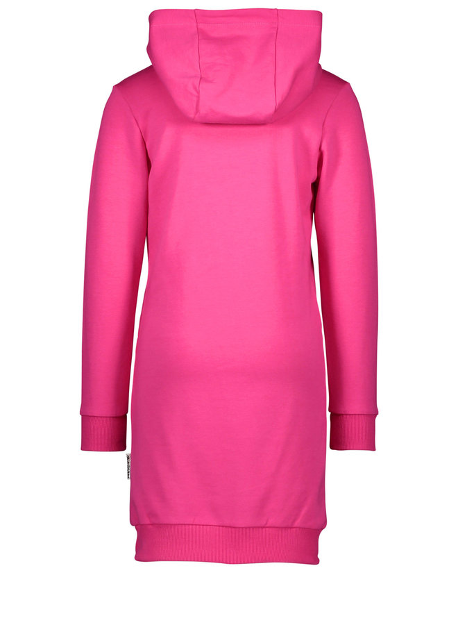 B.Nosy - Hooded Dress With Artwork On Chest - Beetroot Pink
