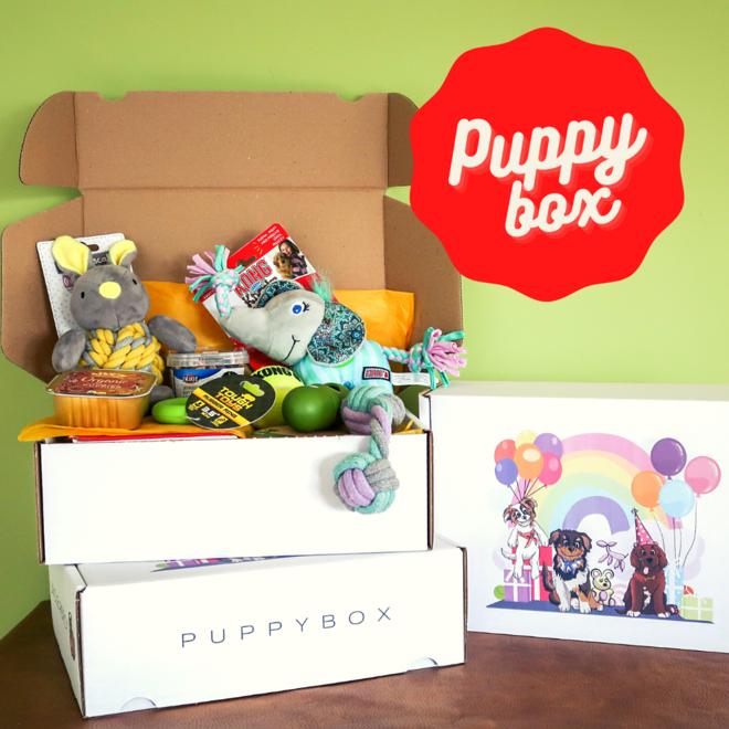De puppy box van Uncle Percy
