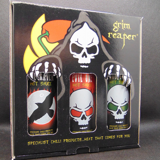 Hot Box Chili Trio – Grim Reaper Foods (Heat level 10)