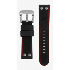 TW Steel 22mm black regular leather watch strap TWB28R
