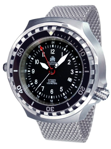 Tauchmeister Tauchmeister T0308MIL automatic diver watch with Milanese strap XXL
