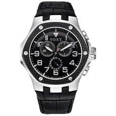 V.O.S.T. Germany V100.008 Carbon Steel Chrono Herren Uhr 44mm