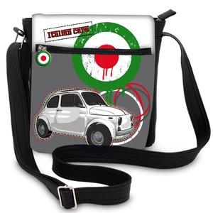 Kleine Schoudertas met rechte rits en een witte Fiat 500 afbeelding