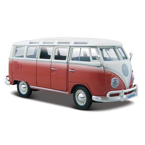 Volkswagen T1 Samba bus Rood/Wit 1:25