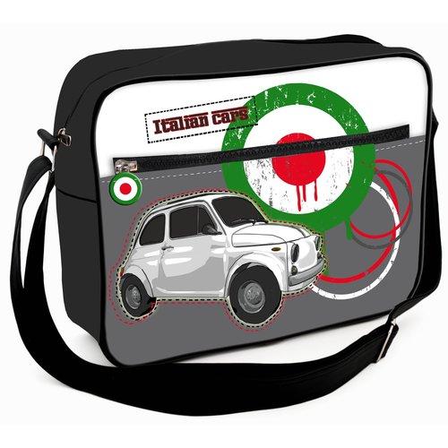 Grote schoudertas met een witte Fiat 500 afbeelding