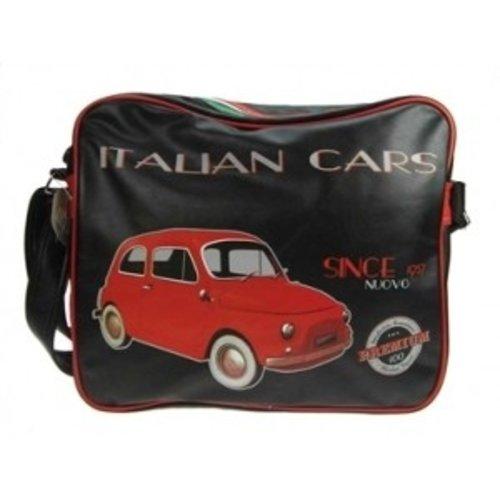 Grote schoudertas met een rode Fiat 500 afbeelding.