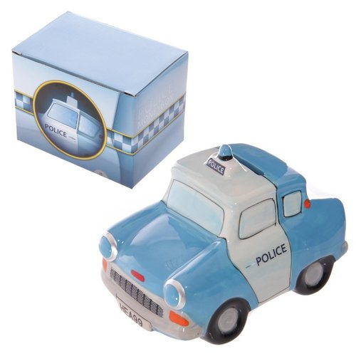 Jaren '60 politieauto blauwe spaarpot