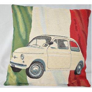 Fiat 500 Italiaanse vlag sierkussen 45x45 cm