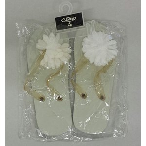 Witte flower teenslipper