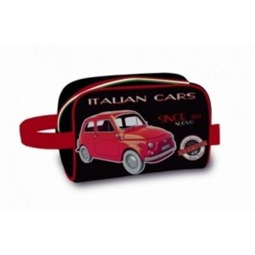 Toilettas met een rode Fiat 500 afbeelding