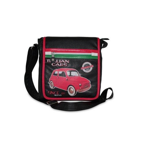 Kleine Schoudertas met rechte rits en een rode Fiat 500 afbeelding